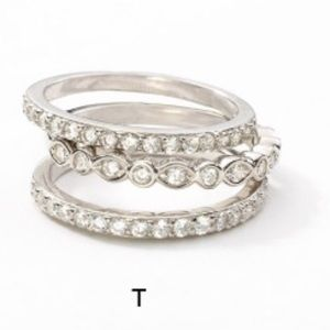 Touchstone Crystal set of 3 sparkling rings size 8
